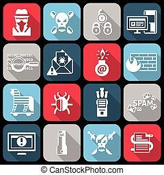 hacker, appartamento, set, icone