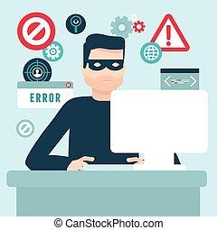hacker, appartamento, stile, vettore, illustrazione