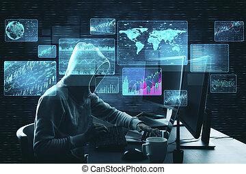 Hacker at desktop using laptop