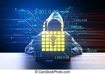 Hacker at desktop using laptop with glowing padlock hologram.