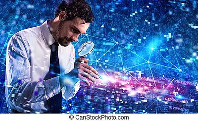 hacker, ataques, sistema, analisa, vírus, computador, homem negócios