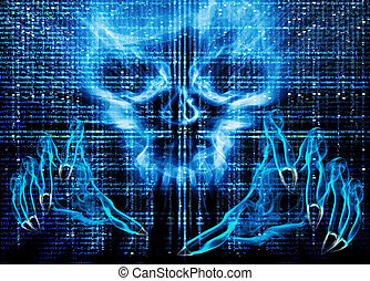 hacker attack concept blue illustration