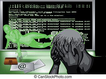 hacker attack. female silhouette symbolised cyber crime