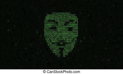 Hacker attack. Hacker A person from a binary hexadecimal code. Hacker looking at the camera with laptop, binary codes projections and animation in background. spyware. Collecting data about a person