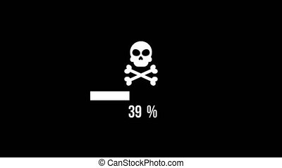 hacker attack skull Animation with loading bar.