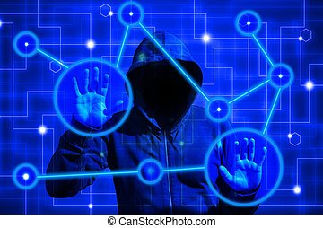 Hacker attacks computer network nodes with touchscreen -...