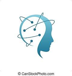 Hacker - Blue stylized hacker head silhouette with lines ...
