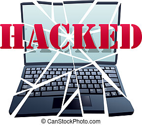 Hacker breaks security to crash Laptop Computer pieces -...