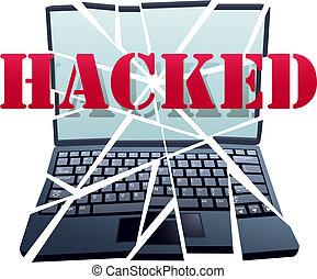 hacker, bricht, sicherheit, zu, absturz, laptop-computer,...