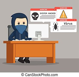 hacker carrying laptop vector illustration design