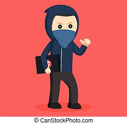 hacker carrying laptop vector