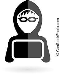 hacker, chłopiec, ikona