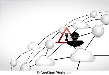 Hacker cloud network concept