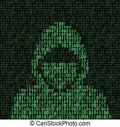 hacker, codice binario, fondo