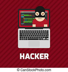 Hacker coding bug on laptop vector icon