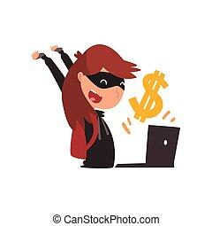 hacker, computador, usando, dinheiro, roubando, máscara, ilustração, laptop, vetorial, crime, femininas, internet, pretas, segurança, tecnologia, caricatura