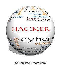 hacker, concetto, parola, sfera, nuvola, 3d
