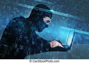 hacker, cria, um, backdoor, acesso, ligado, um, computer., conceito, de, segurança internet