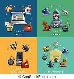 Hacker cyber attack and e-mail spam viruses icons concept vector illustration