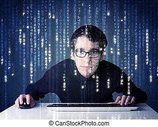 hacker, decoding, informação, de, futurista, rede,...