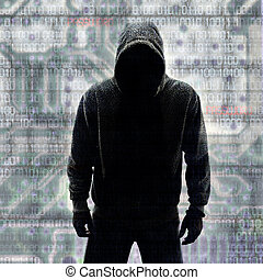 hacker, dwójkowy, dorsze, sylwetka