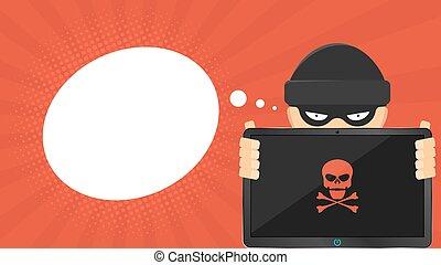 hacker, estilo, seu, hands., segurando, tabuleta, text., screen., quebrada, nuvem, computer., cranio, alta tecnologia, caricatura, vazio, vermelho