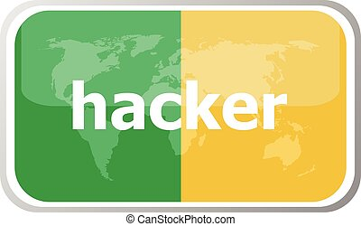 hacker. Flat web button icon. World map earth icon. Vector illustration