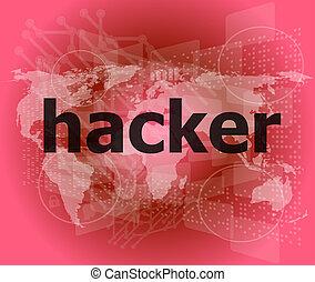 hacker, fondo, intimità, parole, digitale, concept: