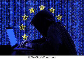 Hacker from europe at work cybersecurity concept