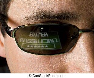 hacker, går in i, din, lösenord