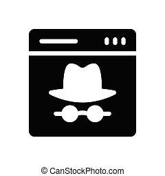 hacker glyph flat icon