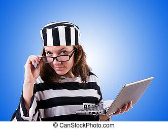 hacker, gradiente, laptop, criminal, contra