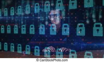 Hacker hacking a security software