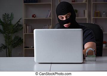 Hacker hacking computer late at night