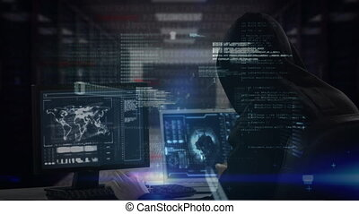 Digital composite of smart Caucasian hacker with balaclava and black sweater hacking computer while coding moves on the foreground.