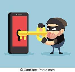 Hacker hacking smartphone. Vector flat illustration