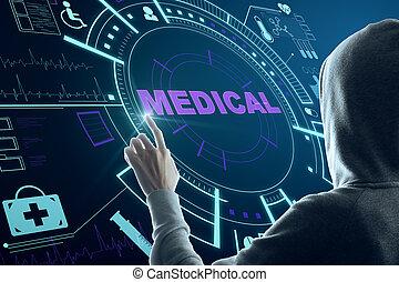 Hacker hand using medical interface