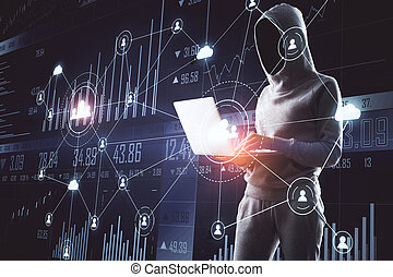 Hacker holding laptop with glowing human resource interface