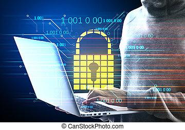 Hacker holding laptop with glowing padlock hologram.