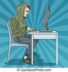Hacker Hooded Man Stealing Information from Computer. Cyber Crime. Pop Art retro vector illustration
