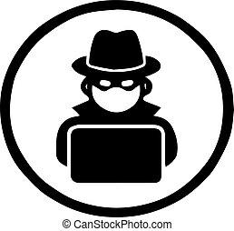 hacker icon on white background