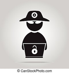 Hacker icon with laptop flat style vector illustration