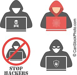 Hacker icons. Hacker with laptop, hacking the Internet, ...