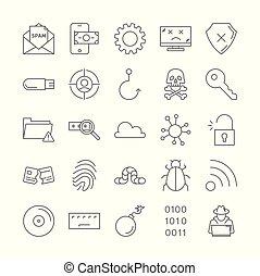 Hacker icons set.