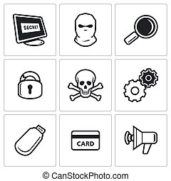 Hacker icons set. Vector Illustration.