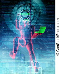 Hacker in Action - Illustration of a hacker in action, ...