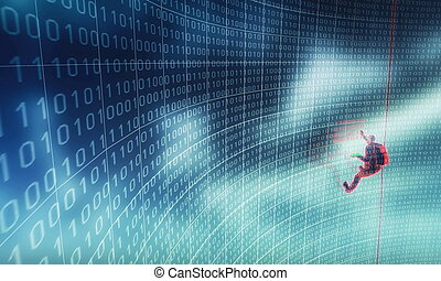 Hacker in Action - Illustration of a hacker in action,...