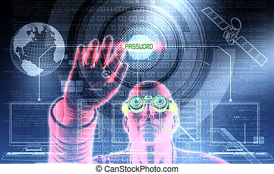 Illustration of a hacker in action, hacking a software system or digital binary database