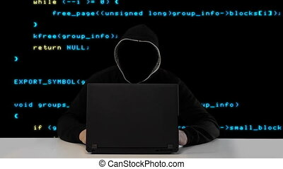 Hacker in black hood with a laptop - Anonymous hacker in...