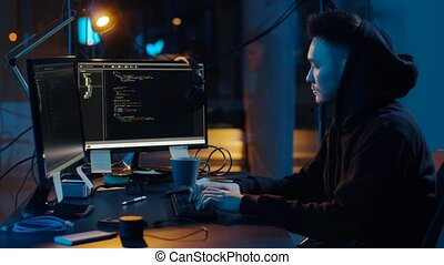 hacker in hoodie using computers for cyber attack - ...